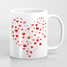 Be My Valentine! Mug i love you,red hearts,valentines day,valentines card,expressing love,affection,heart,aquarelle,watercolors,watercolor brush lettering,hand painted,hand written,original artwork,best gift,imperfection,pink,red,lovely,cute,simple,effective,red on white,white background,simple and easy art,easy design,affordable art
