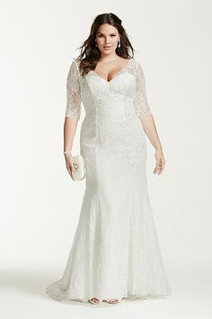 3/4 Sleeve Lace Trumpet Wedding Dress / Plus Size Wedding Dress