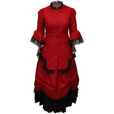 Lucille Walking Suit, Red (€145) ❤ liked on Polyvore featuring dresses, victorian, red, steampunk, red holiday dress, red special occasion dresses, red victorian dress, victorian dress and cocktail dresses