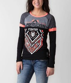 """Distressed graphic t-shirt - Mock twist yoke - Thermal raglan sleeve insets - Contrast coverstitch accents - """"American Fighter"""" patch - Body length 26 on size medium Pretty Outfits, Cool Outfits, Casual Outfits, Winter Outfits, American Fighter Shirts, Affliction Clothing, Hurley Shirt, American Eagle Outfits, Cute Shirts"""
