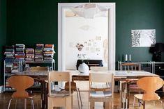 I really want dark green kitchen walls. I really want dark green kitchen walls. Dark Green Rooms, Dark Green Kitchen, Green Kitchen Walls, Green Dining Room, Dining Rooms, Dining Chairs, Room Colors, Wall Colors, Turbulence Deco