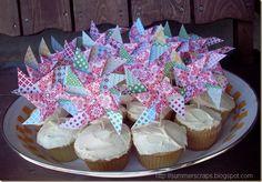 DIY Summer Pinwheel Cupcake Toppers   Summer Scraps blog