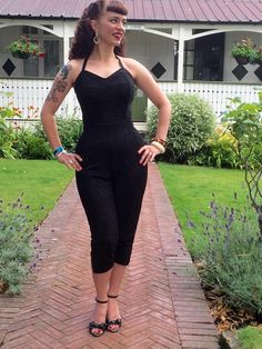 ba11cfe22ec Jumpsuit - Vintage 1950s inspired sparkly black lurex Jumpsuit XXS to XL  1950s Outfits