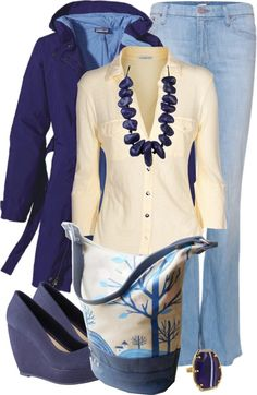 A fashion look from March 2013 featuring long-sleeve shirt, wrap coats and flared jeans. Browse and shop related looks. Winter Outfits, Casual Outfits, Cute Outfits, Fashion Outfits, Women's Casual, Casual Wear, Womens Fashion, Cream Outfits, Jeans