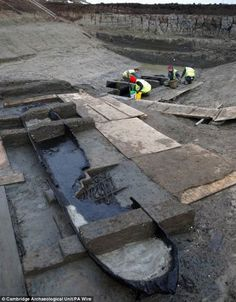 Eight Bronze Age log boats that are 'more important than the Mary Rose' emerge from a silted up river thousands of years after they were sunk and left to rot Rose Tudor, Peterborough England, Dugout Canoe, Conservation, Bronze Age, Archaeology, River, History, Anthropology