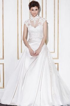 dd982722b344 Blue By Ghent High Neck Classic Short sleeve Long Train  211.99 Wedding  Dresses 2014 Prinsessebrudekjole
