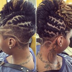 Short Locs Hairstyles, Shaved Side Hairstyles, Dreadlock Styles, Dreads Styles, Blonde Dreads, Natural Hair Styles, Short Hair Styles, Shaved Hair Designs, Beautiful Dreadlocks