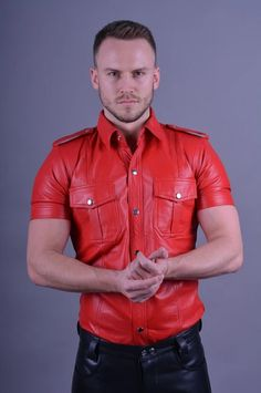 Leather Joggers, Leather Jeans, Red Leather, Leather Jacket, Baggy Shorts, Mini Shorts, Polo T Shirts, Cool Shirts, Steel Boots