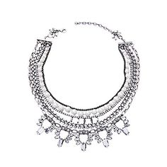 Habeats Multi Strand Rhinestone Pearl Layered Chain Chunky Silver Statement Necklace 17 Inch with Extender *** See this great product.