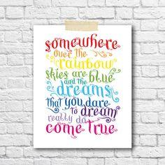Somewhere Over The Rainbow Song Print Bright Nursery Decor Kids Room Wall Art Boys Girl Nursery Prints Modern Kids Room Lyrics Wall Print on Etsy, $16.00