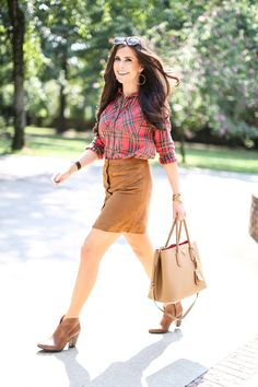 SEPTEMBER 1, 2015 Pre-Fall Tartan - PLAID TOP: Topshop | SKIRT: Vince Camuto (Nsale purchase – similar here & here) | BOOTIES: Vince Camuto (obsessed- I also just ordered the Wild Mushroom color, too) | BAG: Prada (similar style here) | SUNGLASSES: Karen Walker (dupes for $12 here) | WATCH: Michele | BRACELETS: Louis Vuitton (stolen from Elle) | RING: David Yurman | LIPS: Cherish & Ample Pink