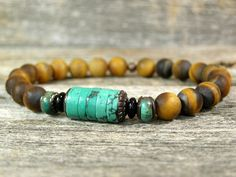Mens Bracelet Turquoise Bracelet Mans by StoneWearDesigns Find more men's beaded bracelets at https://www.strapsandbracelets.com/