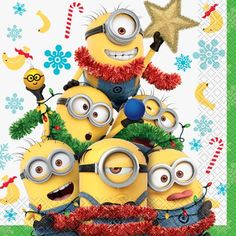 Despicable Me Minions Christmas Luncheon Napkins, in, - , Minion Rock, Cute Minions, Minions Despicable Me, My Minion, Minion Party, Minion Names, Minions 2014, Christmas Classroom Door, Minion Christmas
