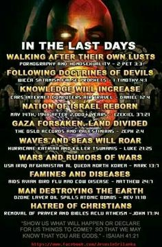 Last days prophecies being fulfilled.