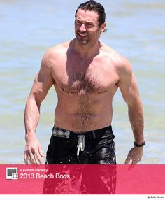Hugh Jackman Hits the Beach, Shows Off Ripped Bod!