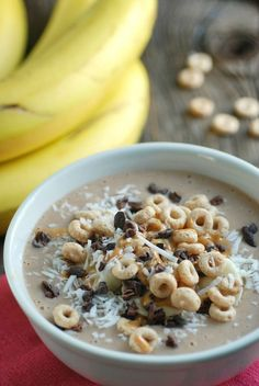 Chocolate + Peanut Butter = Heaven! Try this new breakfast recipe where not only do you get chocolate and peanut butter together, but is like a smoothie meets cereal for a delicious morning meal that is full of healthy fats, fruit, and whole grains that will get you through your morning!