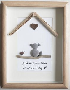 Pebble Art framed Picture  A House is not a Home without a