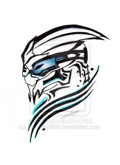 Garrus tribal tatoo by Northwolf89. I would never get this, but it's still pretty nifty.