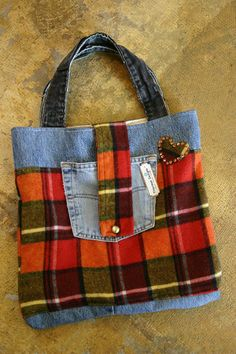 Large Upcycled vintage plaid flannel and jeans tote bag diaper bag purse - The…