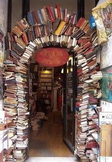 Bookstore entrance. I hate to see books used for something besides reading, but if they were already destroyed, that's okay