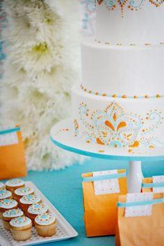 color combos, blue, wedding cakes, orange and aqua party, wedding aqua orange