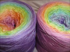 wonderful lace yarn in soft rainbow colours by bethany Rainbow Colours, Yarn Colors, Green And Purple, Yarns, Bunt, Fiber Art, Pastel, Knitting, Crochet