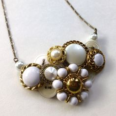 Vintage Button Necklace with Brassy Gold and White Pearl by buttonsoupjewelry, $32.00