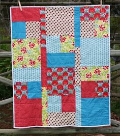 fat quarter quilt tutorial (takes 6 fat quarters to make a crib/lap quilt - have easily increased size to larger blanket too)