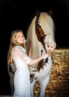 A stunning bride rode to her wedding on the horse she saved from dying of starvation...