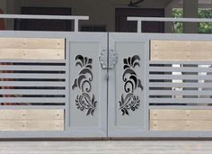 34 Amazing Steel Gate Design Ideas Match With Any Home Design - The purpose of home security gates is simple. They increase the level of security of the property and help to keep the family safe. They can enhance t. Home Gate Design, Grill Gate Design, House Main Gates Design, Steel Gate Design, Front Gate Design, Window Grill Design, Main Door Design, House Front Design, Iron Main Gate Design