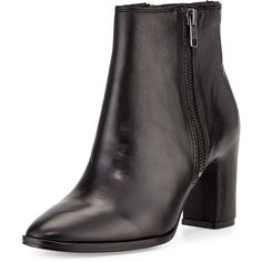 Ash Farah Leather Zipper Bootie (3 220 ZAR) ❤ liked on Polyvore featuring shoes, boots, ankle booties, ankle boots, black, short leather boots, leather ankle boots, black high heel boots and leather booties