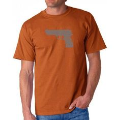 Los Angeles Pop Art Men's T-shirt - Right to Bear Arms, Size: Small, Orange
