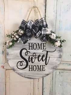 Home Sweet Home Fall Door Hanger Farmhouse Decor Round Door Hanger Fall Wreath Home Sweet Home Door Hanger Christmas Gift Farmhouse Rustic Wood Signs Christmas Decor Door Fall Farmhouse Gift Hanger Home Sweet wreath Wood Crafts, Diy Crafts, Fall Crafts, Rustic Crafts, Fabric Crafts, Fall Door Hangers, Wooden Door Hangers, Christmas Door Hangers, Letter Door Hangers