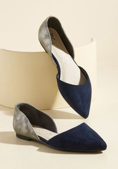 Miss Fancy Prance Vegan Flat in Navy & Pewter, @ModCloth