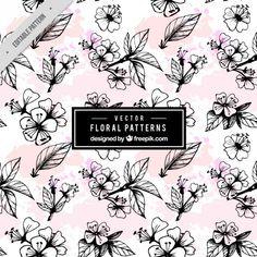 Patrón floral de acuarela dibujados a mano  Vector Gratis