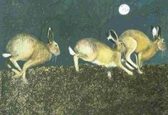 Lindsay Keir's winning painting of hares, Moonlit Chase