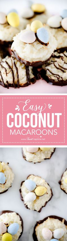 Simple to make easy coconut macaroons, soft, chewy and full of coconut flavor. Plus lighter and healthier than most cookies! These are a great addition to your holiday cookie plates!