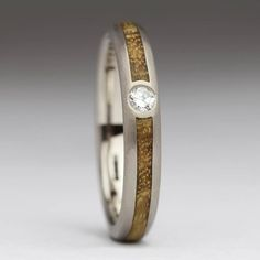 Palladium Diamond Wood Ring Unique Wedding Band by JustinDuance Wood Inlay Rings, Wood Rings, Golden Chain Tree, Unique Wedding Bands, Titanium Rings, Champagne Diamond, One Ring, Contemporary Jewellery, Unique Rings
