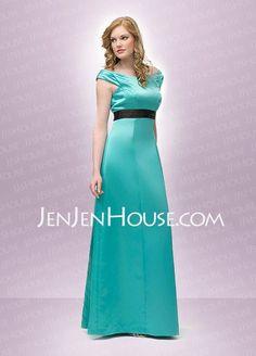 Bridesmaid Dresses - $101.99 - A-Line/Princess Scoop Neck Floor-Length Satin Bridesmaid Dresses With Sash (007001457) http://jenjenhouse.com/A-line-Princess-Scoop-Neck-Floor-length-Satin-Bridesmaid-Dresses-With-Sash-007001457-g1457