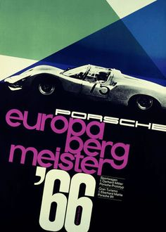 porsche vintage poster, 1966