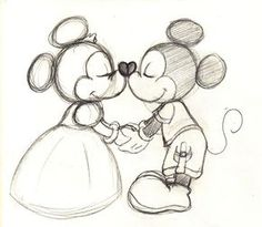 old fashioned mickey and minnie drawing - Google Search