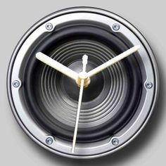 Recycled CD Clock  Retro Speaker Design by whimsicalfishes on Etsy,