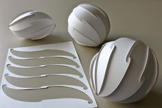 Spherical Spiral, cut pattern in A4 sheet by Prof. YM, via Flickr