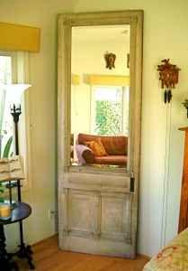 Old door with a mirror