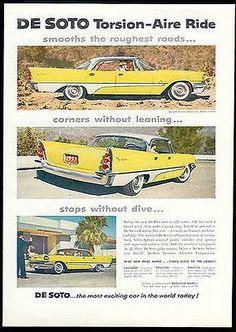 DeSoto AD 1957 Fins Yellow White Modern Car Magazine Advertisement