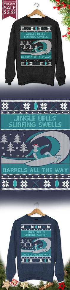Surfer Ugly Christmas Sweater - Get this limited edition ugly Christmas Sweater just in time for the holidays! Buy 2 or more, save on shipping! Cozy Christmas, Ugly Christmas Sweater, Christmas Clothes, Christmas Outfits, Christmas Ideas, Winter Love, Autumn Winter Fashion, Surfing Quotes, Nautical Fashion