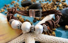 Fresh Water Pearl and Multi Strand Brown Leather bracelet  by LeatherDiva, $38.00