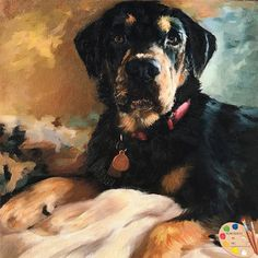 Custom Rottweiler Dog Pet Portrait From Your Photos Oil Portrait, Digital Portrait, Custom Dog Portraits, Pet Portraits, Father's Day, Rottweiler Dog, Hanging Canvas, Painting Process, Texture Painting