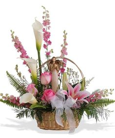 Excellent Arrangements And Bouquets Ideas With Easter Flowers - Easter--regarded as one of the most important religious feasts in the year--is marked by fun, togetherness and love. Feasts, get-togethers, and prayer. Arrangements Funéraires, Basket Flower Arrangements, Funeral Flower Arrangements, Altar Flowers, Church Flowers, Funeral Flowers, Silk Flowers, Deco Floral, Arte Floral