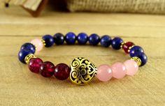 Heart Bracelet Quartz Jewelry Lapis Lazuli Heart Jewelry Quartz Bracelet Women Stone Bracelet Womens Jewelry Stretch Bracelet Yoga Jewelry